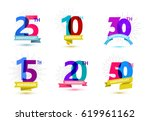 vector set of anniversary... | Shutterstock .eps vector #619961162