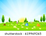 easter background with flowers... | Shutterstock .eps vector #619969265