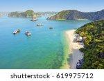 beautiful sea landscape in ha... | Shutterstock . vector #619975712