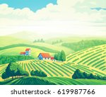 rural summer landscape with... | Shutterstock . vector #619987766