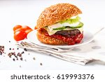 cheeseburger with cheese ... | Shutterstock . vector #619993376