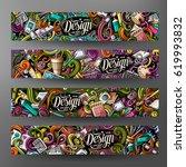 cartoon colorful vector hand... | Shutterstock .eps vector #619993832