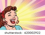 young woman laughs  style pop... | Shutterstock .eps vector #620002922