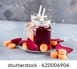 glass jars mug with fresh and... | Shutterstock . vector #620006906
