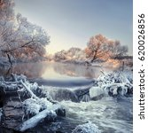one winter on a river near the... | Shutterstock . vector #620026856