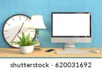computer with white screen on... | Shutterstock . vector #620031692