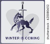 wolf  a sword and heart. ... | Shutterstock .eps vector #620080652
