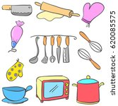 equipment kitchen set colorful... | Shutterstock .eps vector #620085575