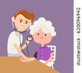 grandmother measures pressure...   Shutterstock .eps vector #620096942