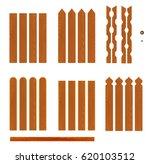 set of wooden fence planks of... | Shutterstock .eps vector #620103512