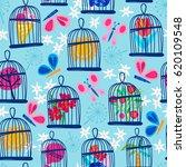 vector seamless pattern of bird ... | Shutterstock .eps vector #620109548