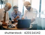 business people talking while... | Shutterstock . vector #620116142