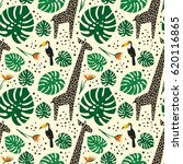 giraffes  toucans and palm... | Shutterstock .eps vector #620116865