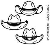 Set Of Cowboy Hats Isolated On...