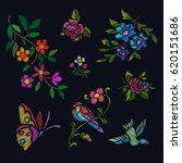 embroidery floral pattern... | Shutterstock .eps vector #620151686