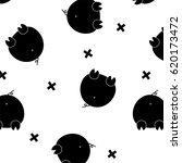 Vector Black Funny Pig. Glamou...