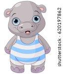 illustration of cute baby hippo ... | Shutterstock .eps vector #620197862