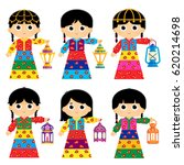 girls are wearing an old... | Shutterstock .eps vector #620214698