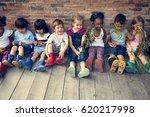 group of kindergarten kids... | Shutterstock . vector #620217998