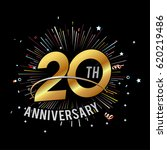 20th anniversary fireworks and... | Shutterstock .eps vector #620219486