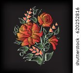 red roses. embroidery on black... | Shutterstock . vector #620252816