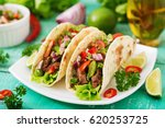 mexican tacos with beef in... | Shutterstock . vector #620253725