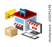 shopping isometric icons design | Shutterstock .eps vector #620291198
