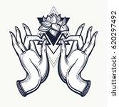 beautiful hand drawn buddha... | Shutterstock .eps vector #620297492