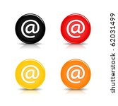 Colored web 2.0 button with at sign. Round shapes with reflection and shadow on white background. 10 eps