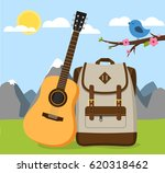 backpack with guitar in nature  ... | Shutterstock .eps vector #620318462