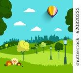 empty park vector flat design... | Shutterstock .eps vector #620320232