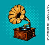 gramophone comic book pop art... | Shutterstock .eps vector #620321792