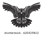 vector black owl line work... | Shutterstock .eps vector #620325812