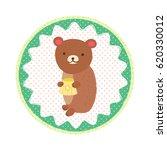cute bear with honey. vector... | Shutterstock .eps vector #620330012