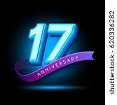 17th anniversary 3d text with... | Shutterstock .eps vector #620336282