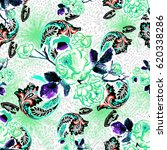 floral geometric brush seamless ... | Shutterstock . vector #620338286