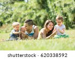 happy smiling family with... | Shutterstock . vector #620338592
