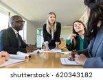 strong business woman speaker... | Shutterstock . vector #620343182