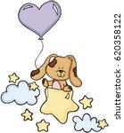 cute dog with balloon on stars... | Shutterstock .eps vector #620358122
