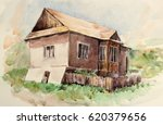 Watercolor Of Old Village House