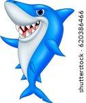 cartoon happy shark  | Shutterstock .eps vector #620386466