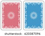 Red and blue cards back. Original decorations inspired by floral art nouveau elements. - stock vector