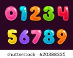 jelly colorful alphabet numbers | Shutterstock .eps vector #620388335