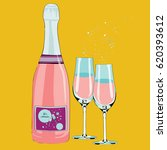 pink bottle with two light blue ... | Shutterstock .eps vector #620393612