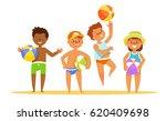 set summer kids with the ball... | Shutterstock .eps vector #620409698