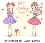 two hand drawn beautiful cute... | Shutterstock .eps vector #620412908