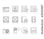 multimedia icon set 5   strokes ... | Shutterstock .eps vector #62043487