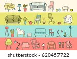 vector set of furniture of... | Shutterstock .eps vector #620457722