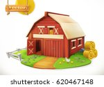 Farm. Red Garden Shed  3d...