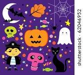 cute halloween set | Shutterstock .eps vector #62046952